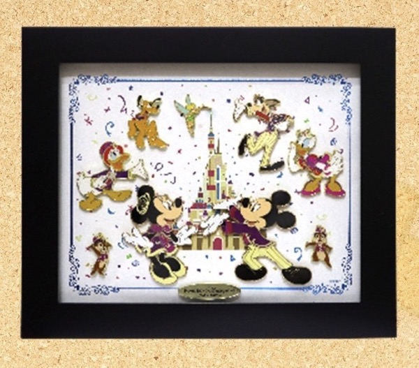 Hong Kong Disneyland 15th Anniversary Framed Pin Set