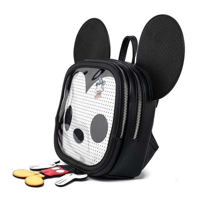 Side View of Loungefly Mickey Mouse Pin Trader Backpack