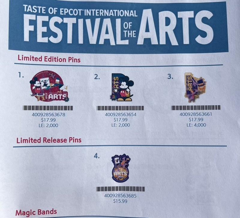 Epcot Festival of the Arts 2021 Disney Pins