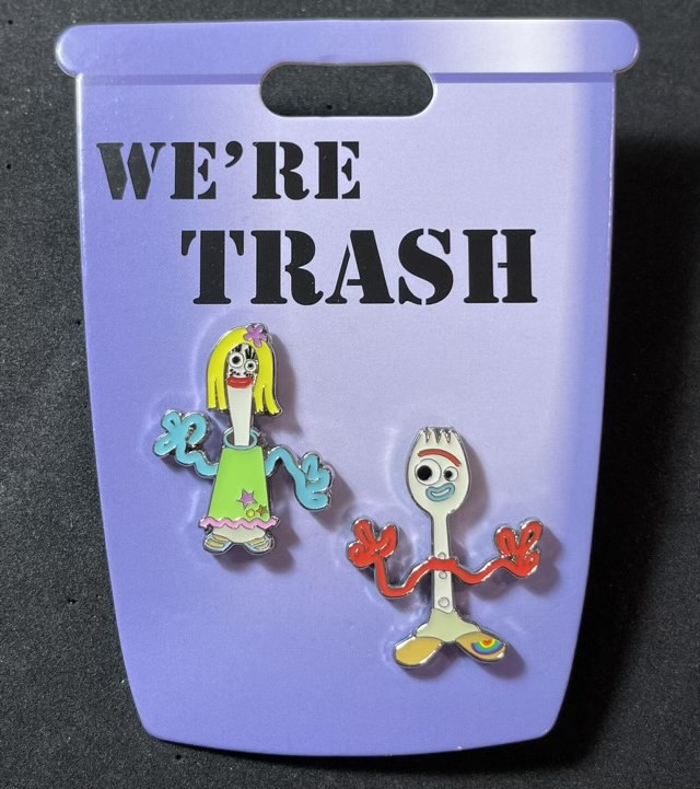 We're Trash Forky and Karen Disney Pin Set
