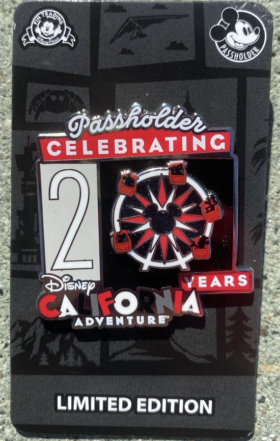 Disney California Adventure 20 Years Passholder Pin