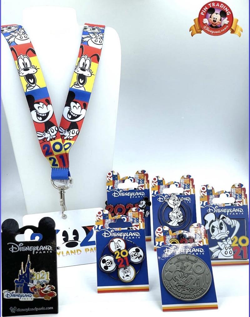 Disneyland Paris 2021 Dated Pins & Lanyard