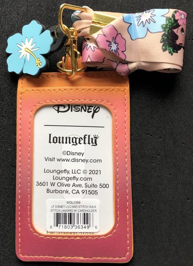 Back of Lilo & Stitch Hula Loungefly Cardholder Lanyard