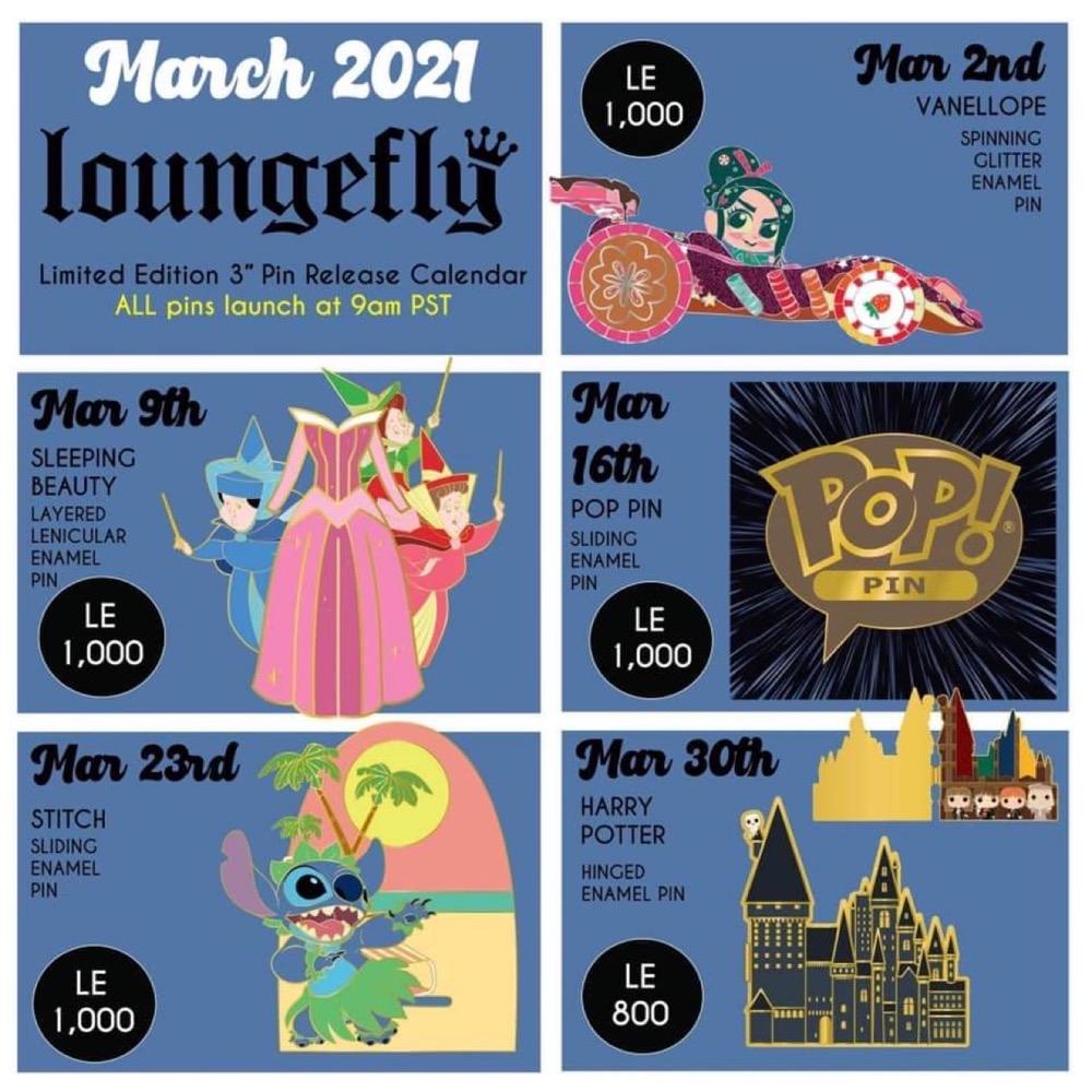 March 2021 Loungefly Disney Pin Release Calendar