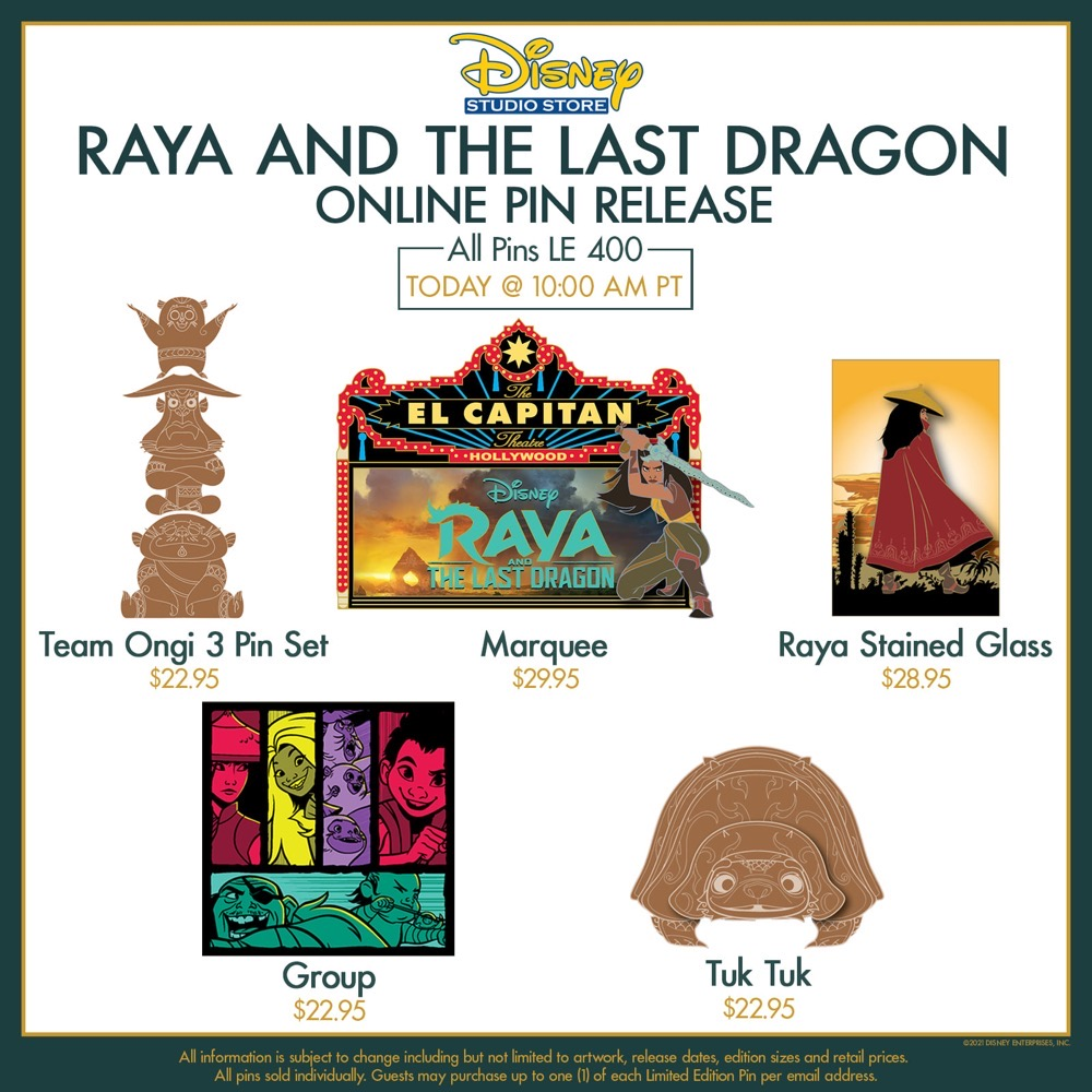 Raya and the Last Dragon DSSH Pin Releases