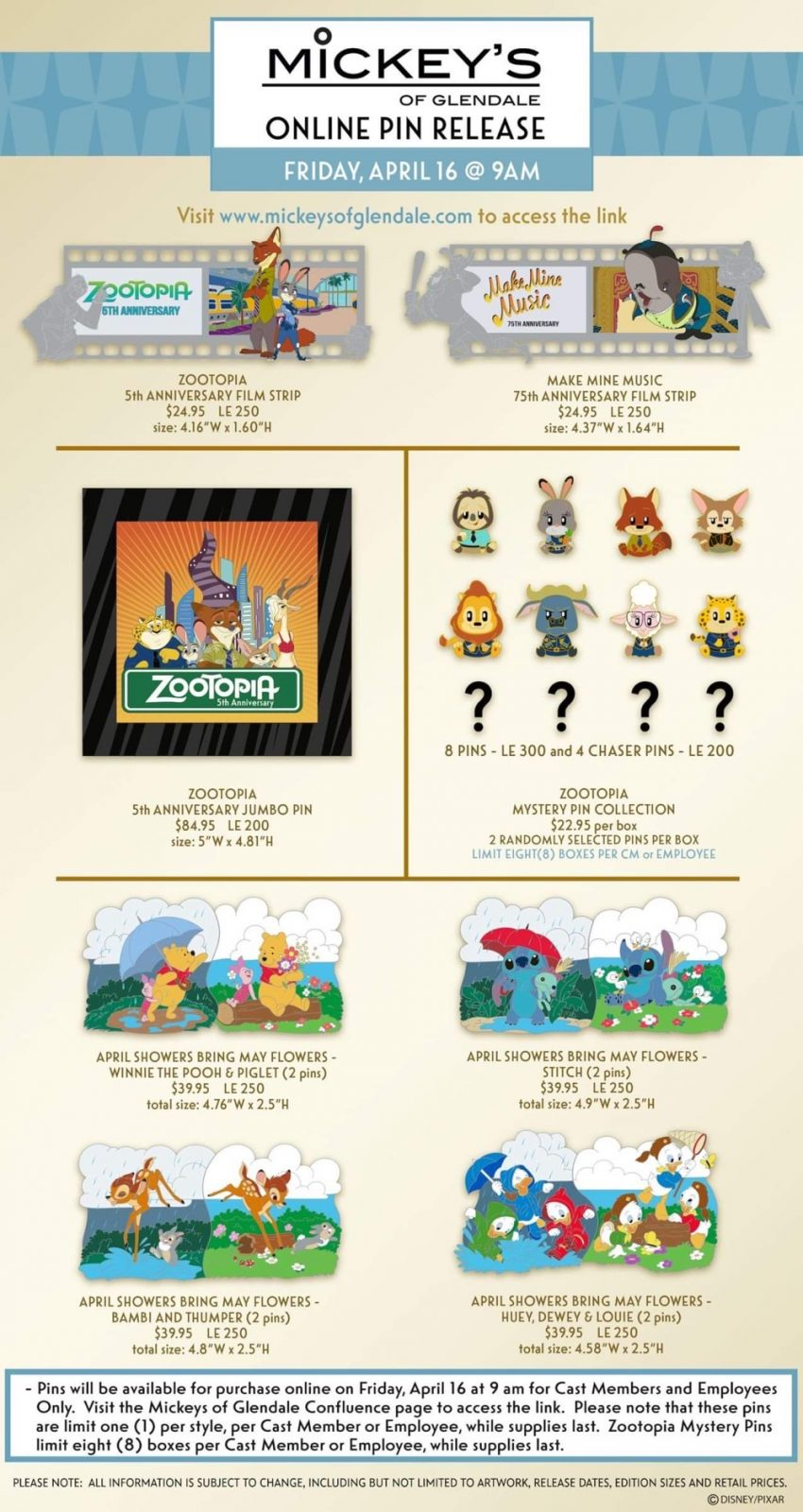 Zootopia 5th Anniversary & April Showers Bring May Flowers WDI Pin Release