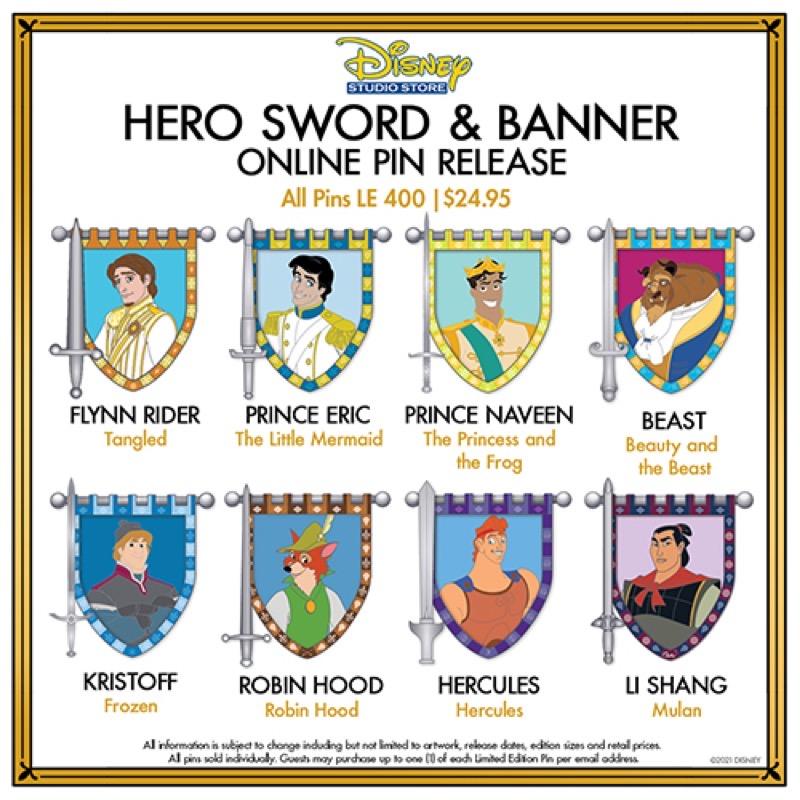 Hero Sword & Banner Series 2 Pins at Disney Studio Store Hollywood