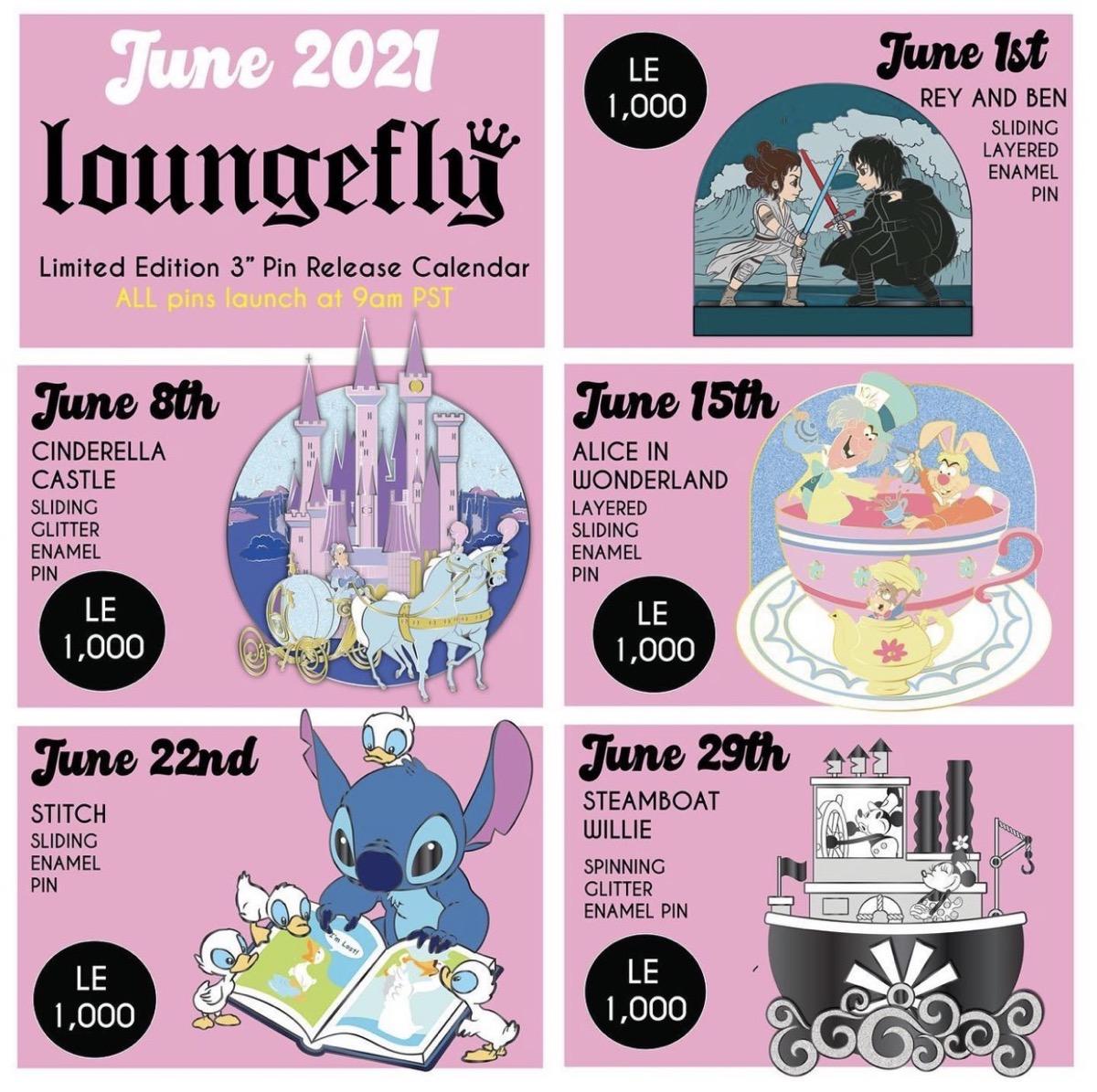 June 2021 Loungefly Disney Pin Release Calendar