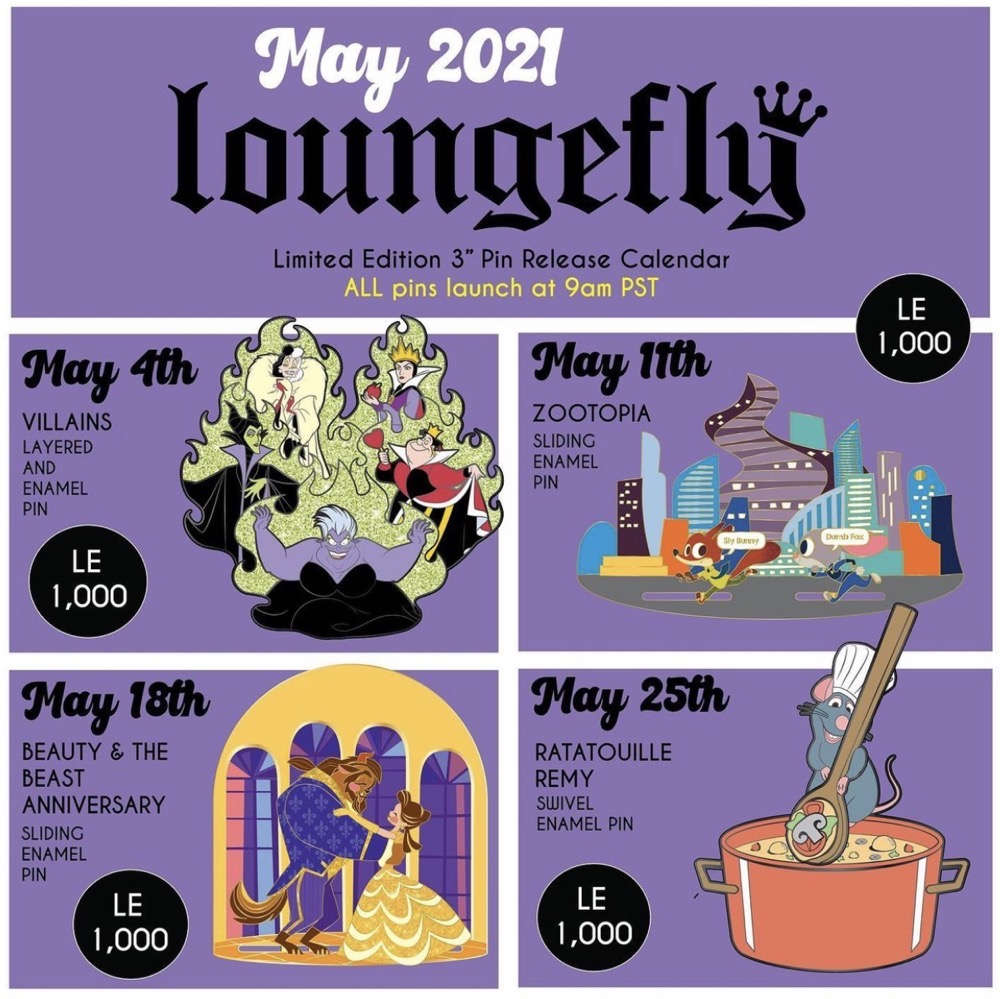 May 2021 Loungefly Disney Pin Release Calendar