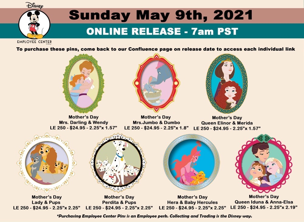 Mother's Day 2021 Disney Employee Center Pins