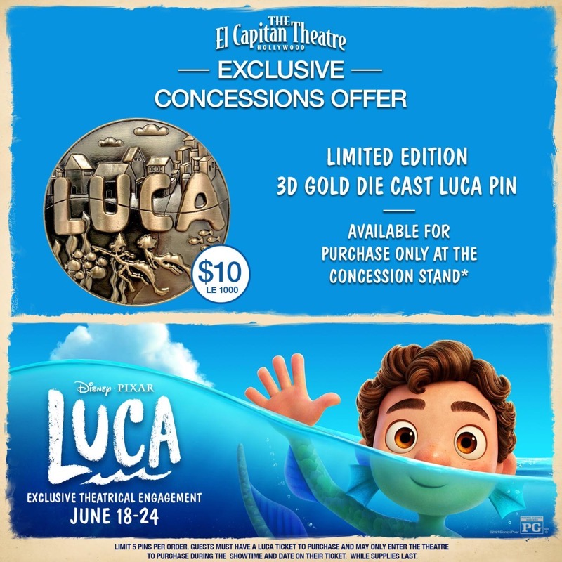 Disney Pixar Luca Pin at El Capitan Theatre