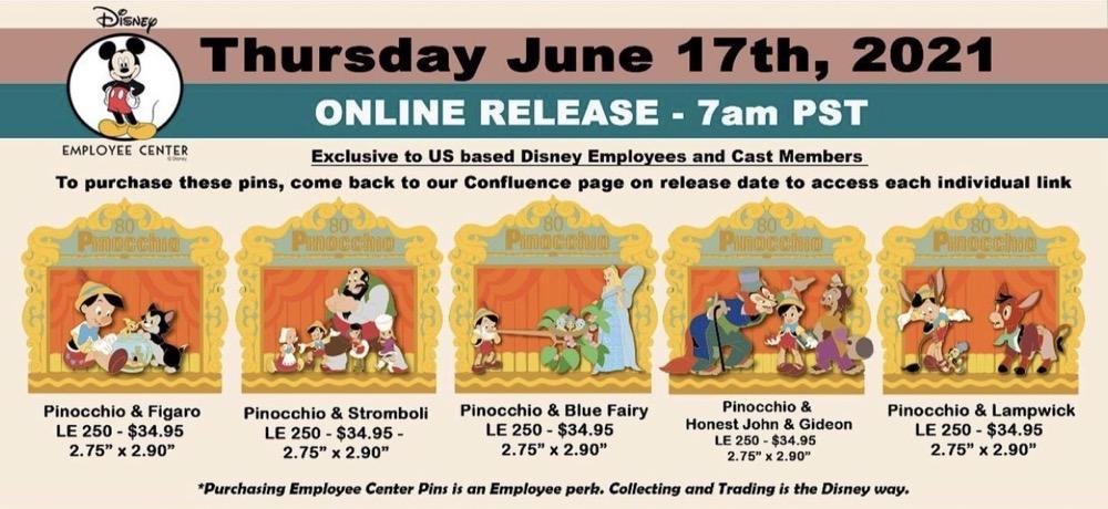 Pinocchio 80th Anniversary Disney Employee Center Pins