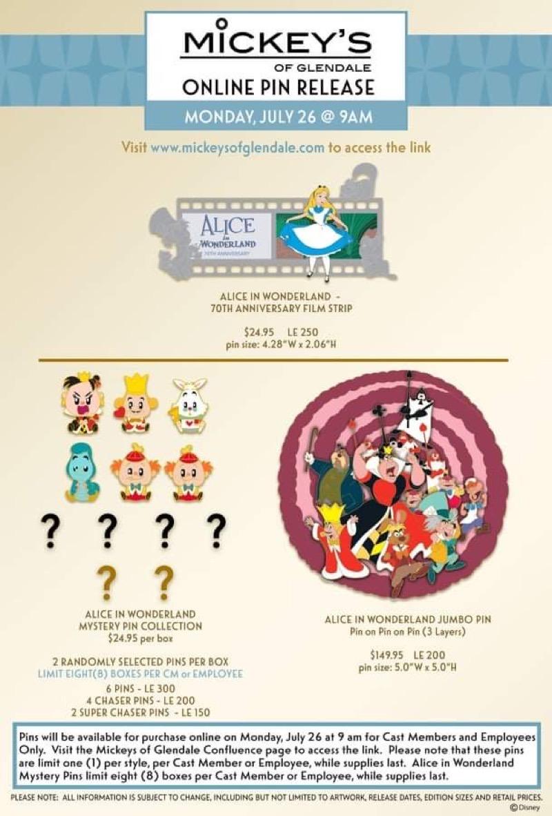 Alice in Wonderland 70th Anniversary WDI Pin Releases