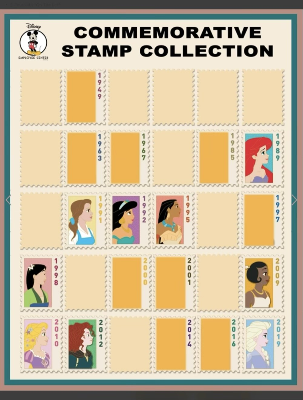 Commemorative Stamp Collection Series 2  Disney Employee Center Pins