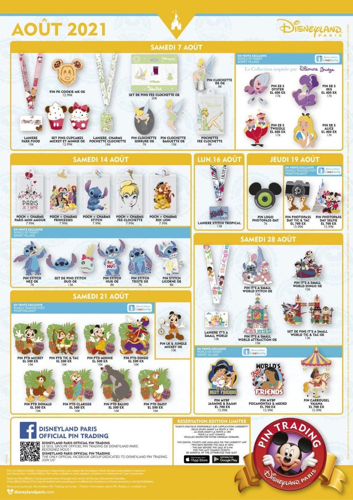 Disneyland Paris August 2021 Pins