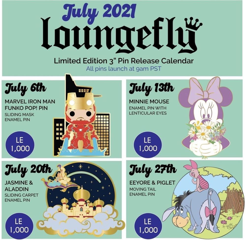 July 2021 Loungefly Disney Pin Release Calendar