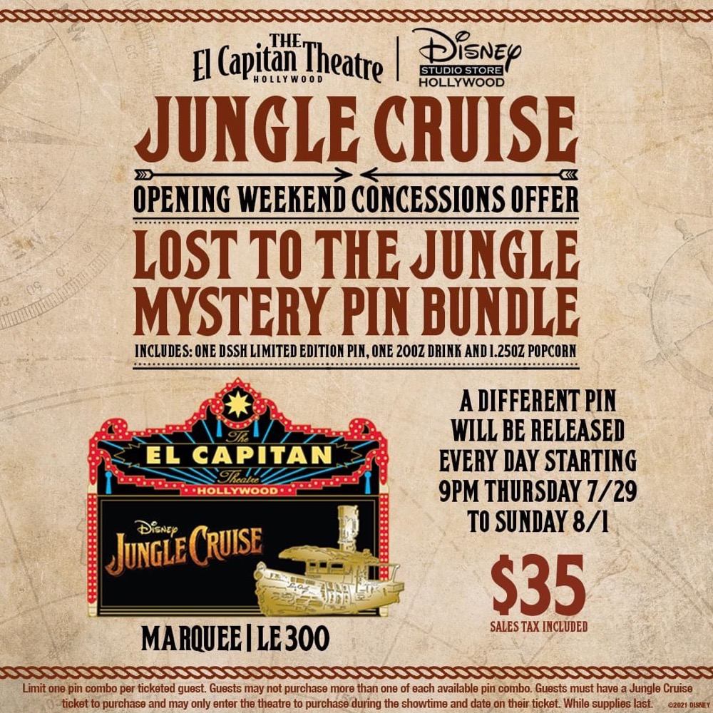 Jungle Cruise Disney Studio Store Hollywood Pins