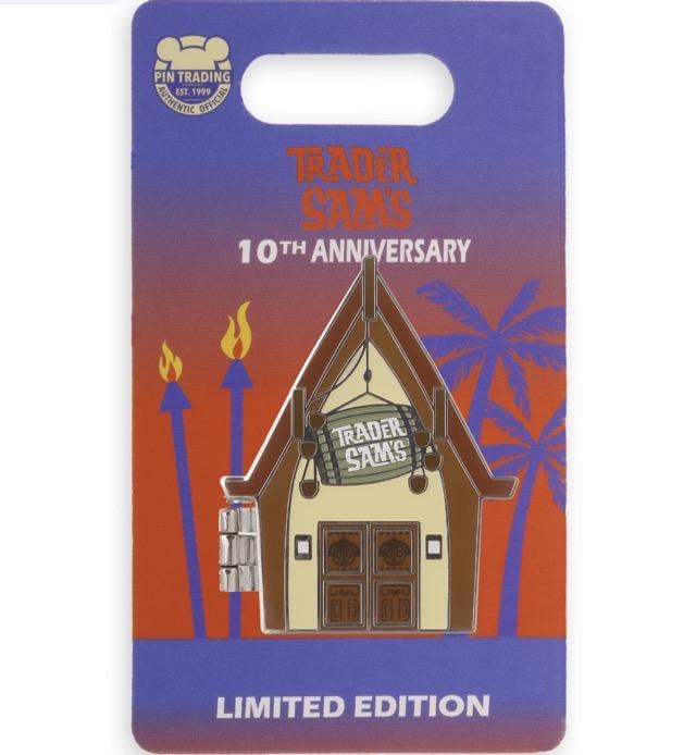 Trader Sam's Enchanted Tiki Bar 10th Anniversary Pin on Card