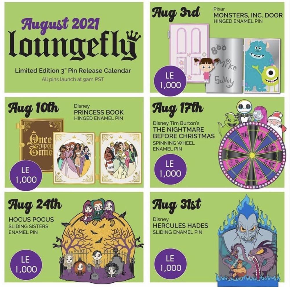 August 2021 Loungefly Disney Pin Release Calendar