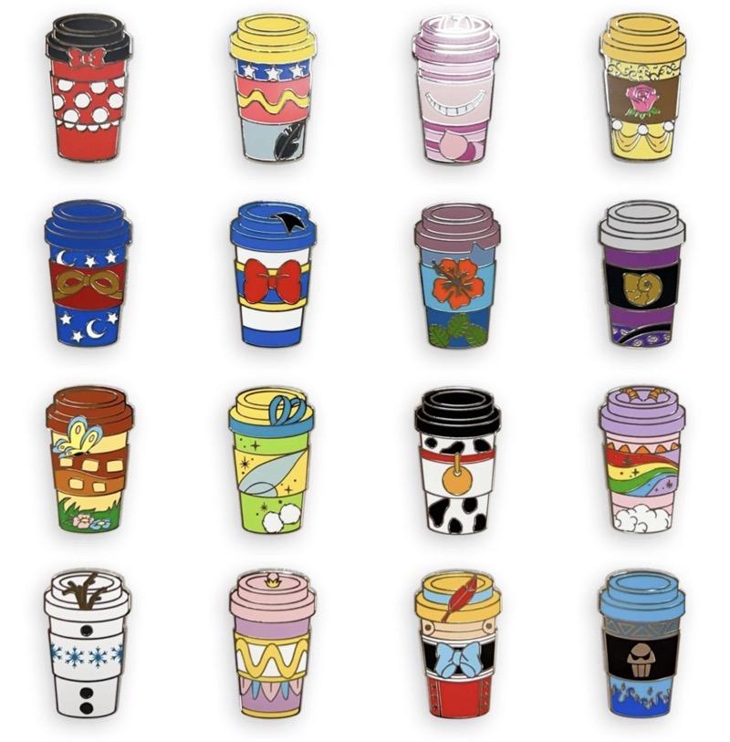 Disney Coffee Cups Mystery Pins