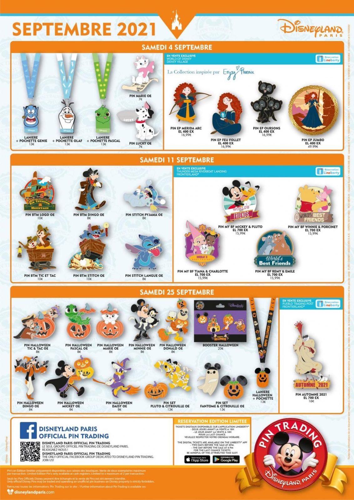 Disneyland Paris September 2021 Pin Releases