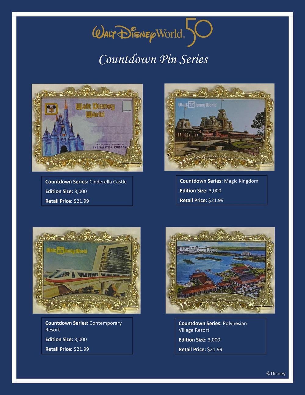 Walt Disney World 50th Anniversary Countdown Pin Series
