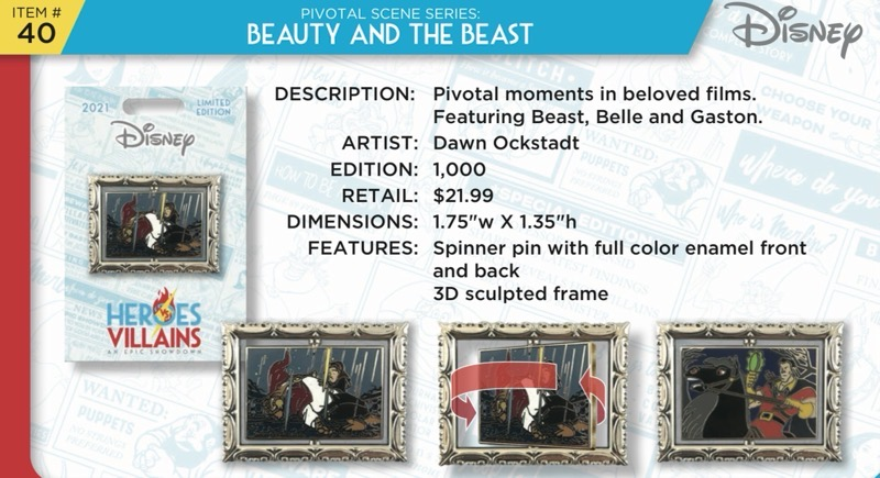 Beauty and the Beast Pin - Disney Heroes Vs. Villains Event