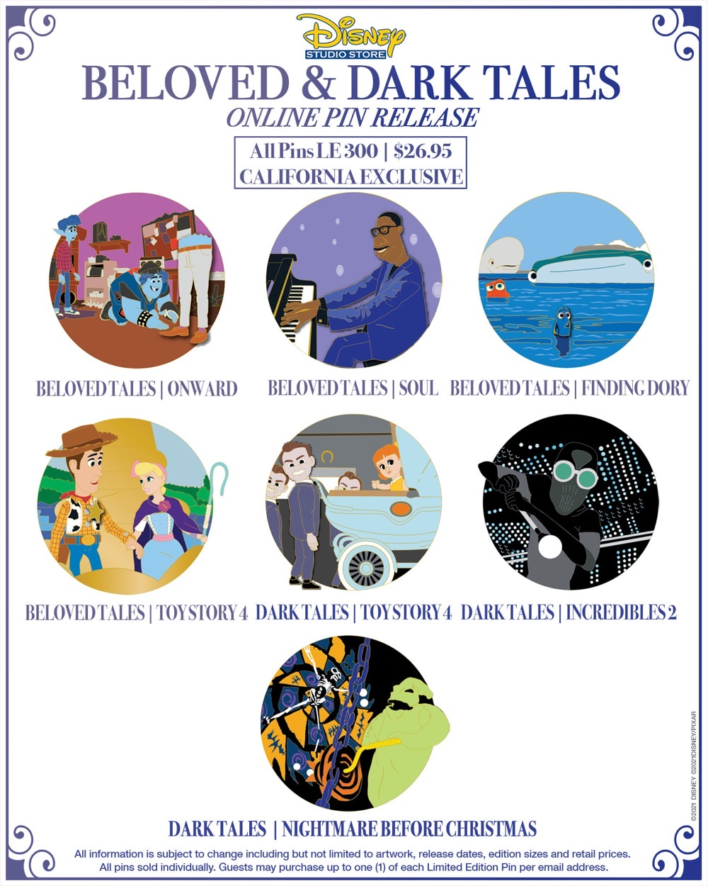 Beloved and Dark Tales Pin Releases at Disney Studio Store Hollywood