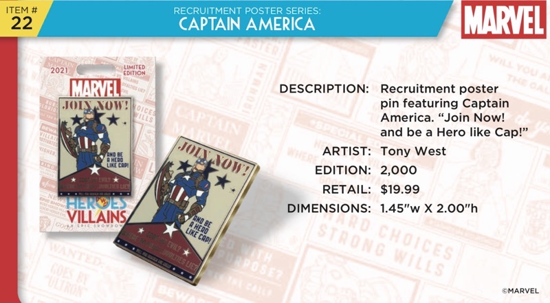 Captain America Pin - Disney Heroes Vs. Villains Event