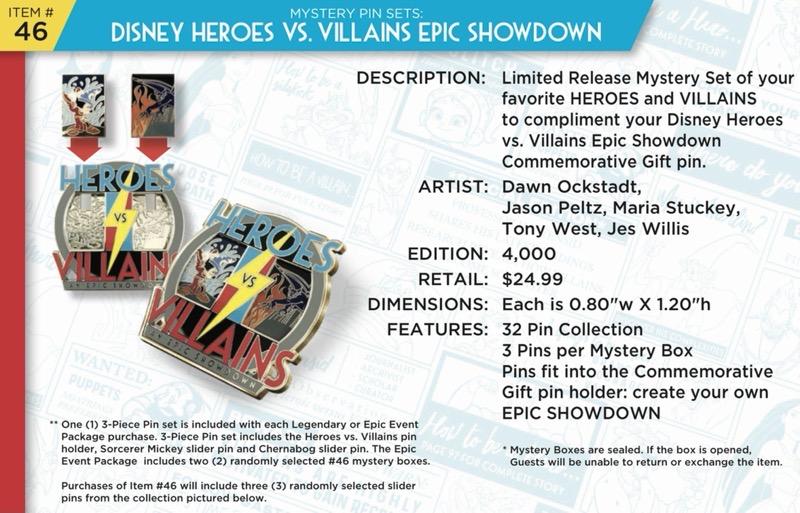 Disney Heroes Vs. Villains Mystery Pin Set