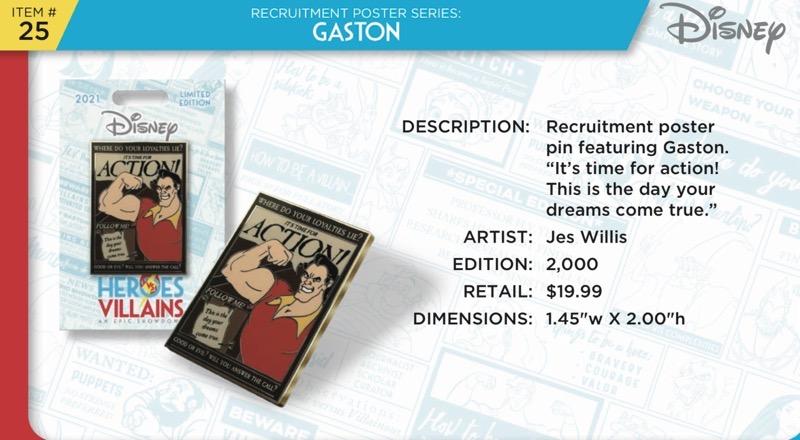 Gaston Pin - Disney Heroes Vs. Villains Event