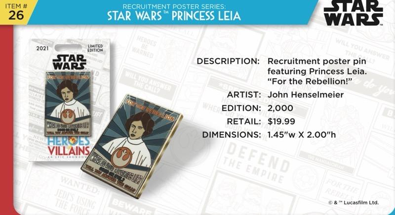 Princess Leia Pin - Disney Heroes Vs. Villains Event