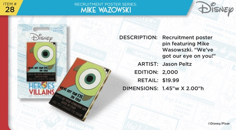 Mike Wazowski Pin - Disney Heroes Vs. Villains Event