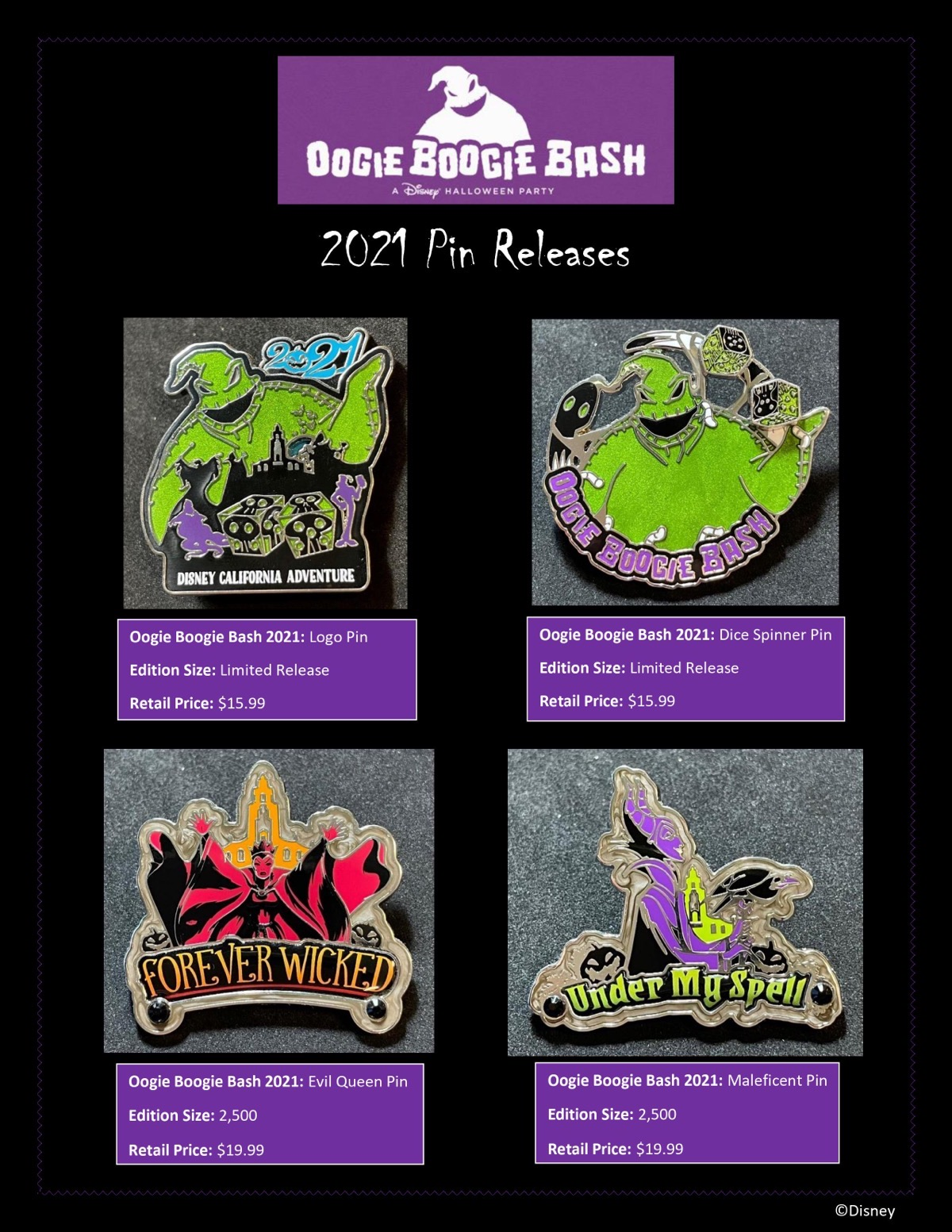 Oogie Boogie Bash 2021 Disney Pin Collection