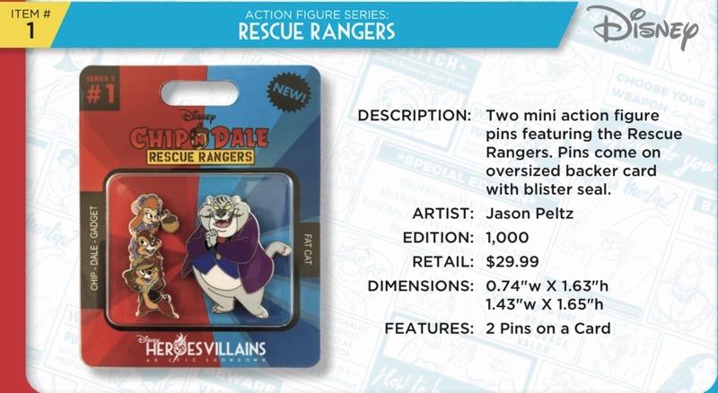 Rescue Rangers Action Figure Pins - Heroes Vs. Villains Disney Pin Set