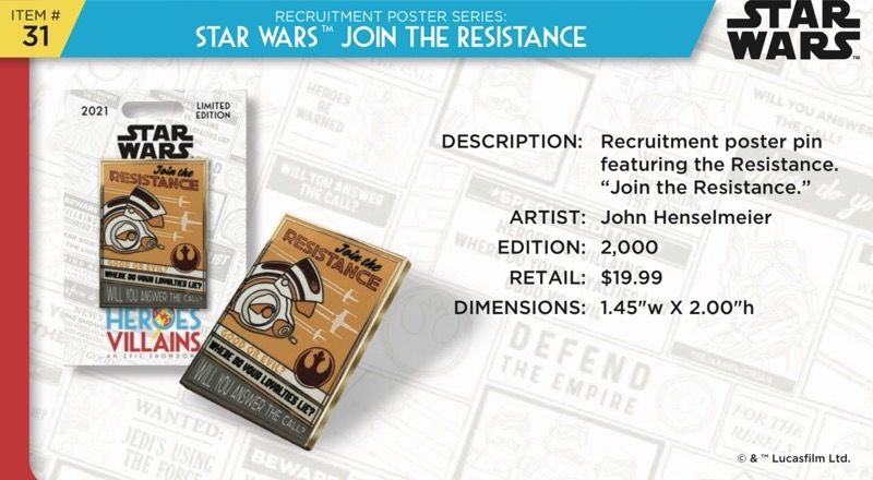 Star Wars Join the Resistance Pin - Disney Heroes Vs. Villains Event