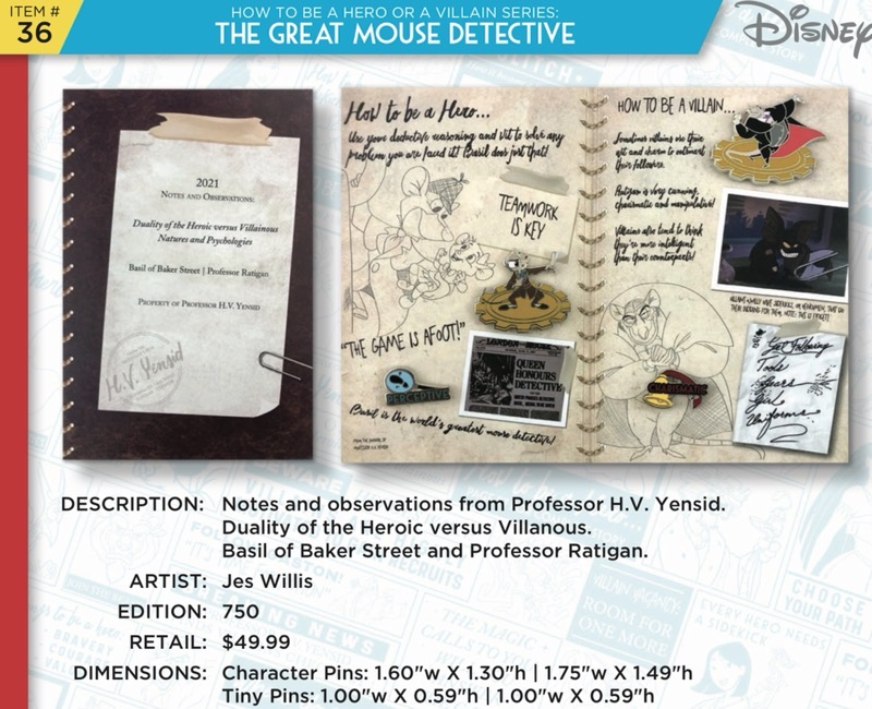 The Great Mouse Detective Pin Set - Disney Heroes Vs. Villains Event