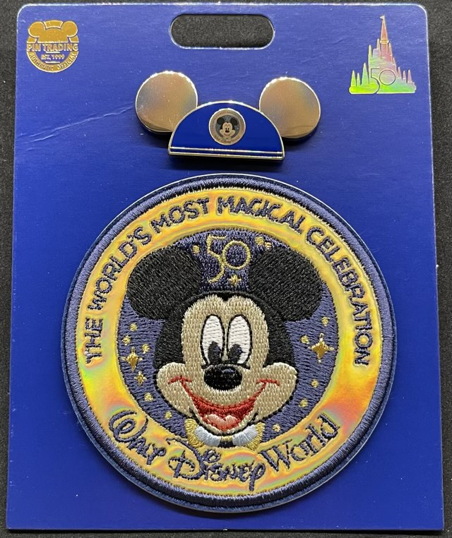 Walt Disney World 50th Anniversary EARidescent Pin & Patch Set without plastic