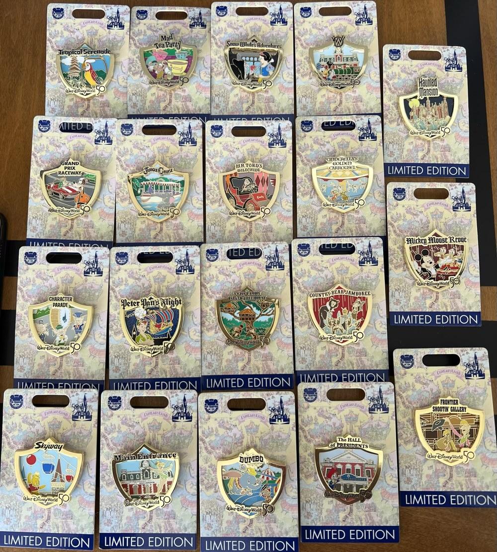 Attraction Crests Walt Disney World 50th Anniversary Pin Series