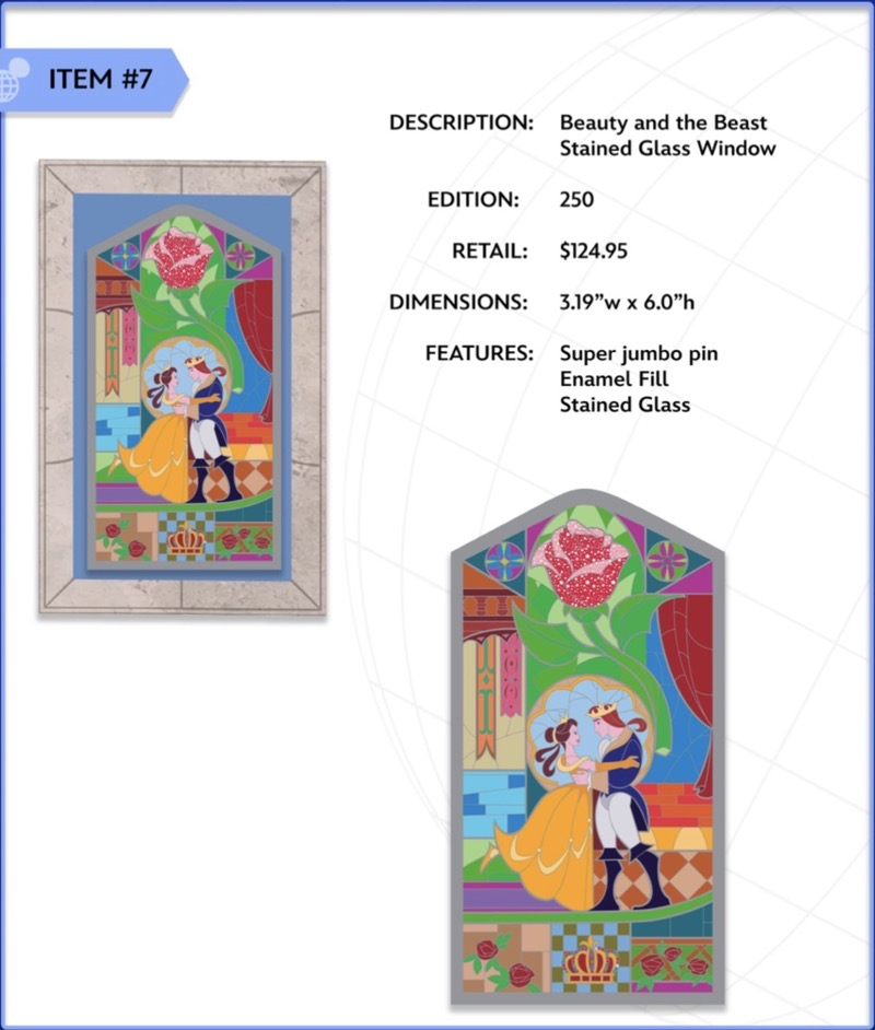 Beauty and the Beast Stained Glass Window Jumbo WDI Pin