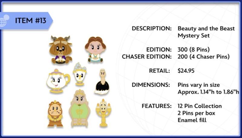Beauty and the Beast WDI Mystery Pin Set
