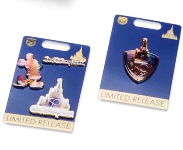 Pins in the Walt Disney World 50th Anniversary Box at shopDisney
